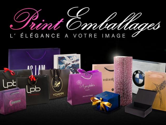 ensemble de packaging publicitaires crées par Print Emballages