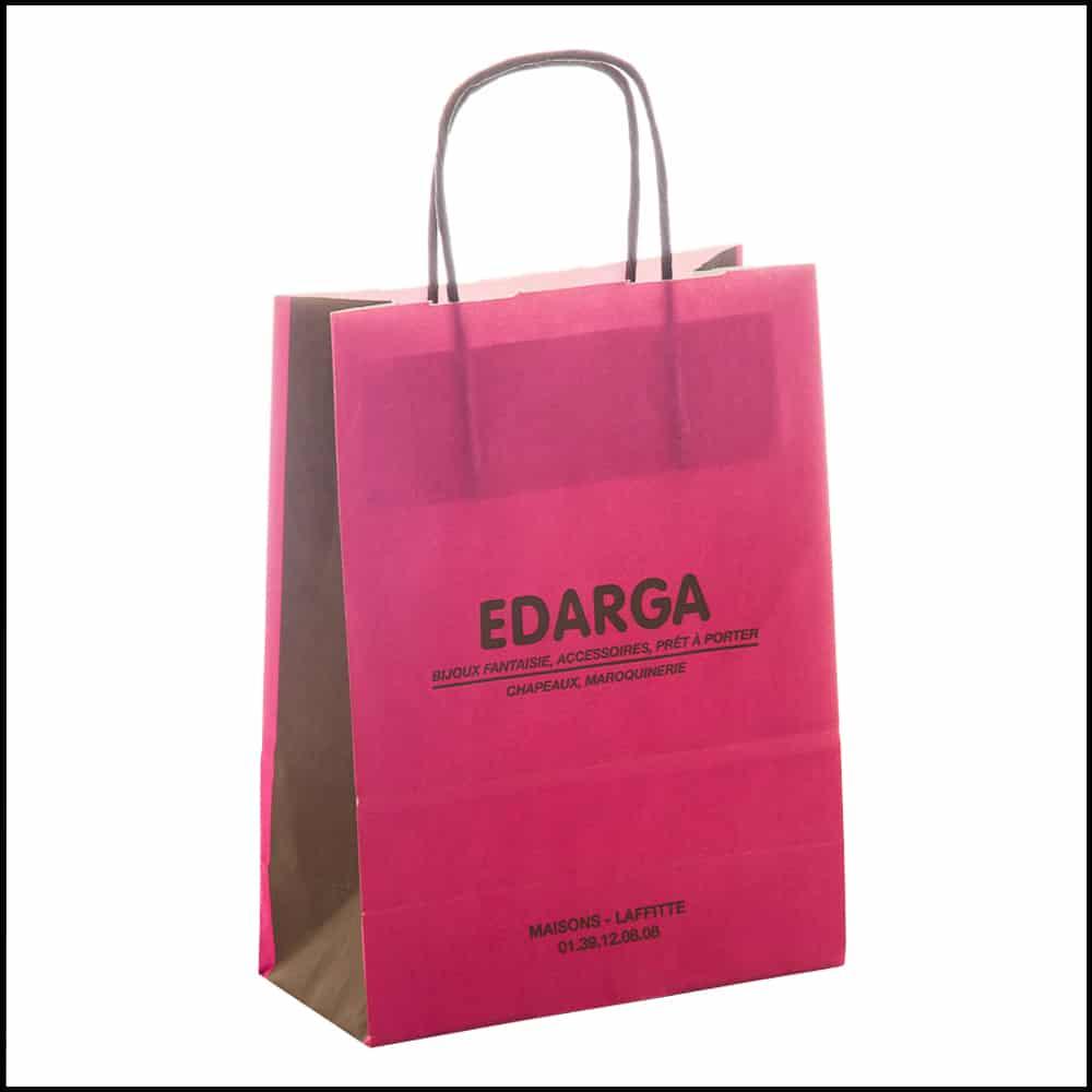 un sac papier kraft rose pour bijoux fantaisie
