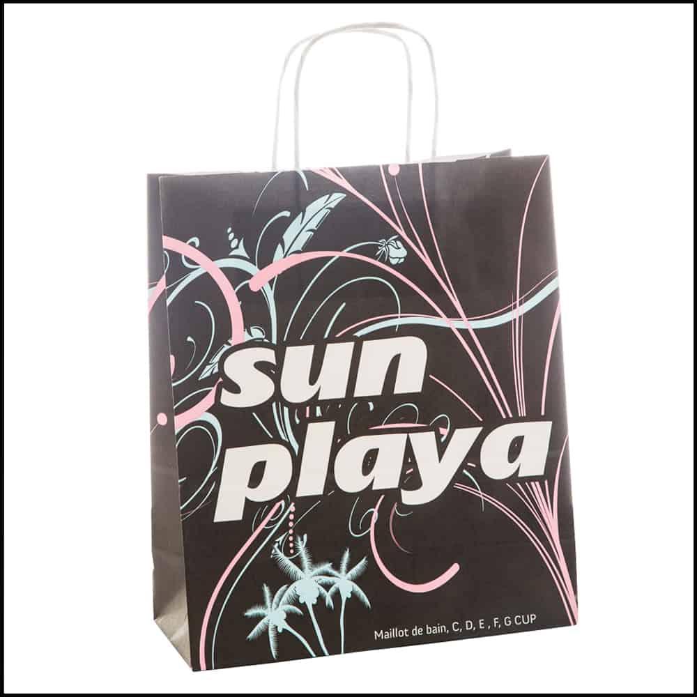 un sac papier kraft pour la marque sun playa
