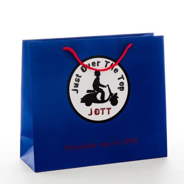 un sac publicitaire bleu avec un logo