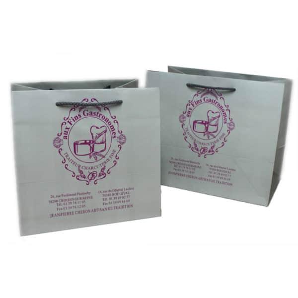 deux sacs pour traiteur personnalisés