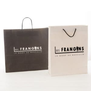 deux sacs papier de luxe personnalisées pour la boutique les frangins